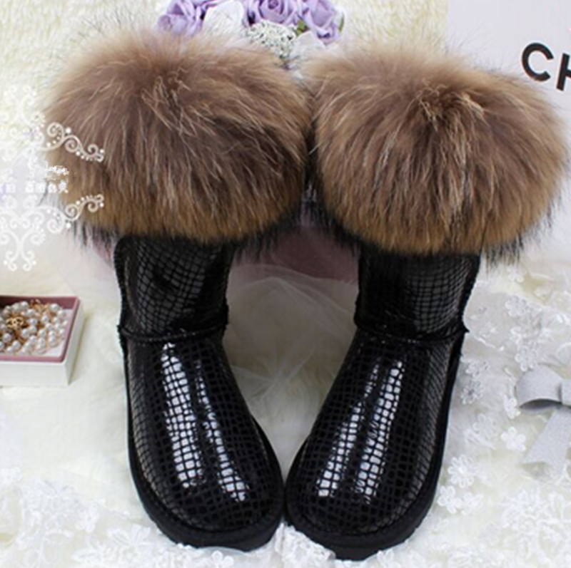 Women Snow Boots Natural Fox Fur Tassel Cowhide Cow Muscle Outsole Waterproof Knee high Genuine Leather