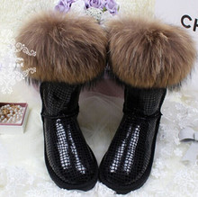Women Snow  Boots  Natural Fox Fur Tassel Cowhide Cow Muscle Outsole Waterproof Knee-high Genuine Leather Women's Shoes