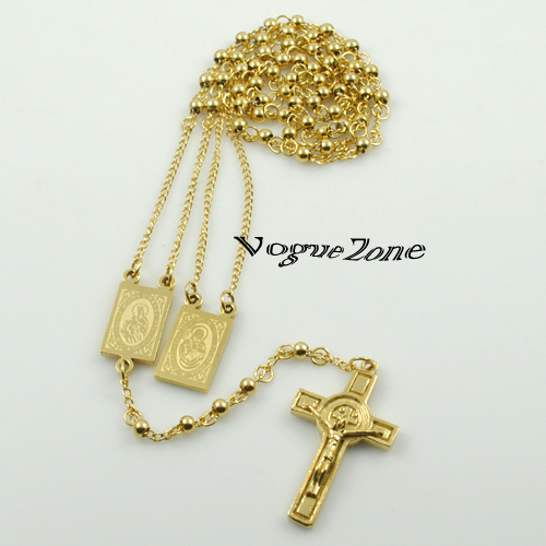 18K Gold Plated Rosary Beads Jesus Piece Cross Religious Stainless Steel Necklace Womens Mens gold chain for men Hot Sale BRN18(China (Mainland))