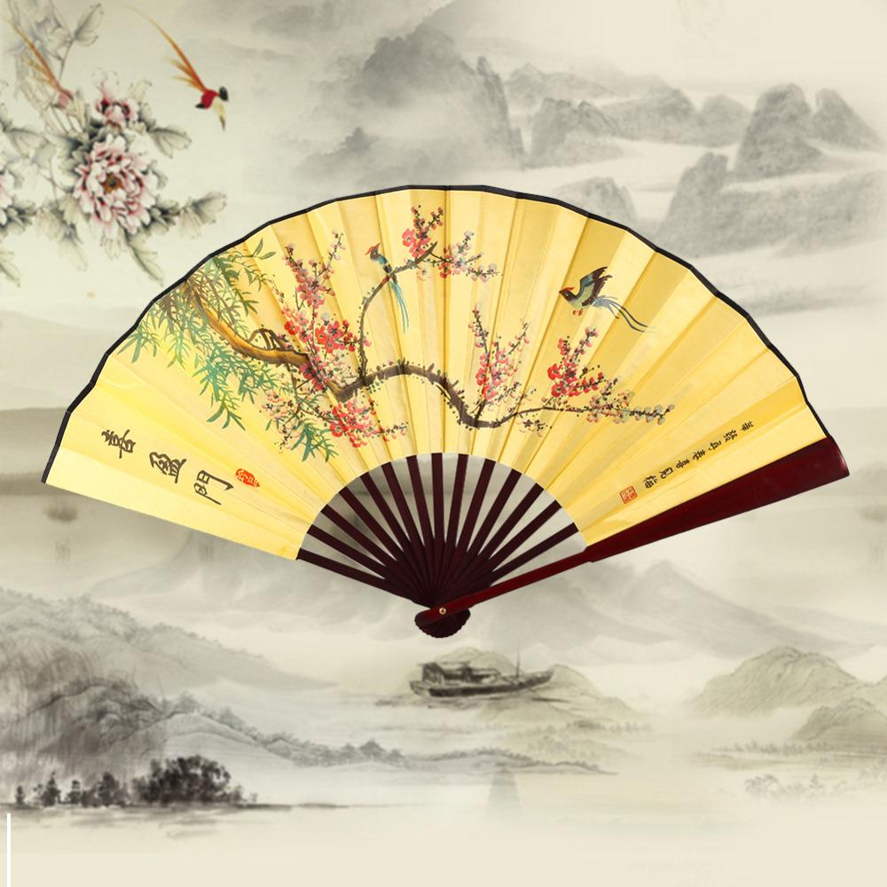 Designer 33cm Folding Fan Chinese Style Bamboo Cloth Riverside Map Summer Women Girl Dancing Fan Hand Fan(China (Mainland))