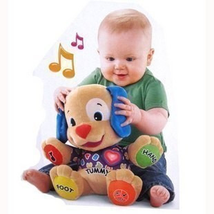 Musical Dog 1pcs 7 x 11 x 13 inches Laugh and Learn Love to Play Puppy Baby Plush Musical Toys Singing English Songs(China (Mainland))