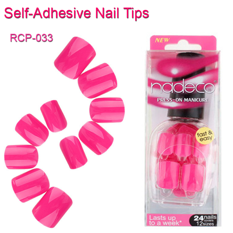 12Sets Full Cover Hot Pink Self-Adhesive Fake Nail Polish Tips Candy Glued Nails Pure Color Artificial French Manicure RCP-33(China (Mainland))