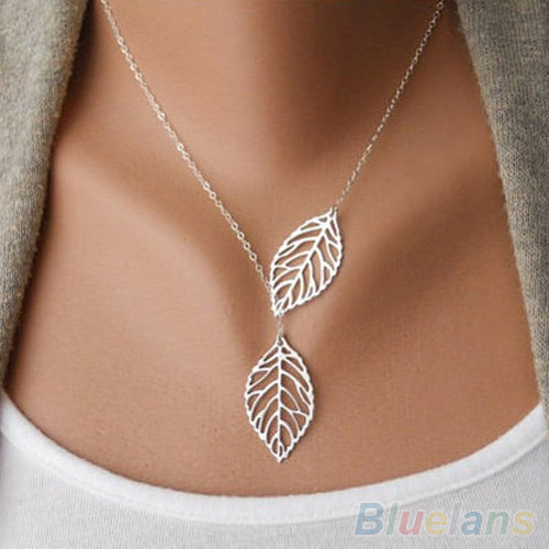 New Gold&Silver Leaf Pendant Necklace Women Brand Vintage Jewelry Accessories Fashion Chain Necklaces For Women 2015(China (Mainland))