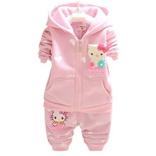 Autumn Winter Baby Girls Clothes Set Kid Hello Kitty Thicken Warm Kid Clothes Set Children Cardigan Sweaters+Pant Set BD047()