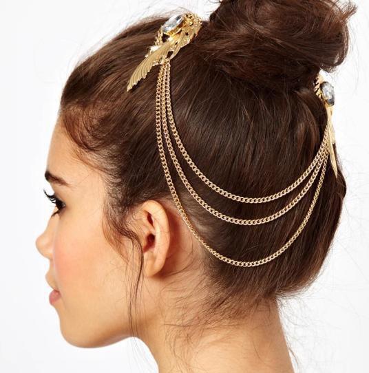 Wholesale Fashion Bohemia Hair Ornaments Gold Plated Tassels Metal Headbands For Women SF267(China (Mainland))