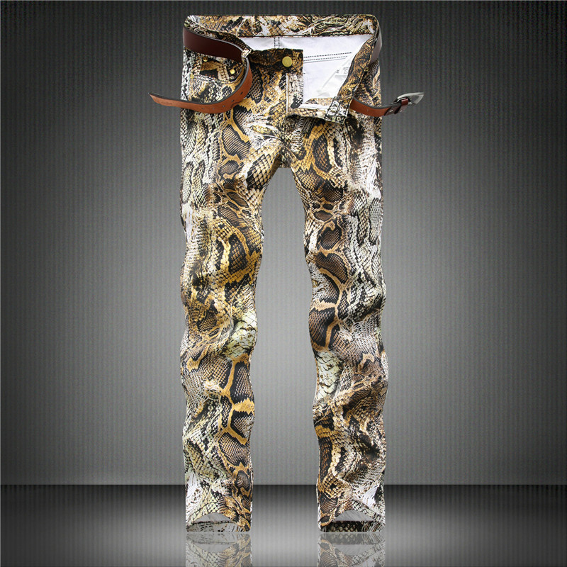 Personality Snake Skin Jeans Pants Club Wear Printed Denim Joggers For Youth Slim Fit Hip Hop Painted Trousers Punk Style