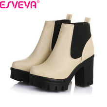 ESVEVA New Arrival Fashion Thick High Heels Boots Women Platform Slip On Hot Sale Motorcycle Mixed Color Winter Snow Shoes Black(China (Mainland))