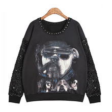 2015 Autumn Women Stylish 3D Printed Hoodies Fashion Rivets Sequined Deco Long Sleeved Brand Punk Hoodies(China (Mainland))