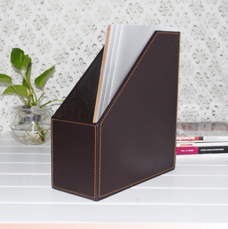 1 slot wood leather desk file book box magazine self ...