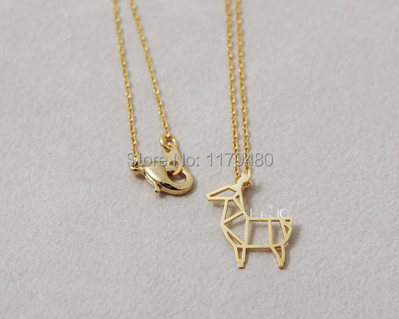 1 Piece-N067 Fashion Origami Deer Necklace Pendants  Gold and Silver for Women Simple Pretty Long Chain Jewelry Party Necklace(China (Mainland))