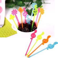 New 50pcs/Pack Colorful Plastic Musical Note Shape Food Fruit Fork Picks Set for Party #63620(China (Mainland))