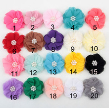 100pcs lot 5cm New Style Fabric Pearl Flowers For Headband Fabric DIY Flower For Infant