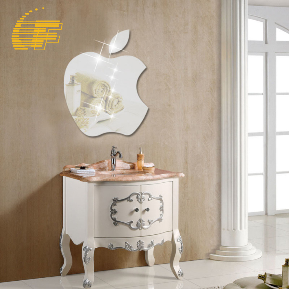 Modern Apple Shape DIY 3D Acrylic Mirror Surface Wall Sticker Home Office Decoration Craft Silver TV Wall Decor Decal -48(China (Mainland))