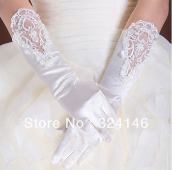 Free shipping  New design Bridal gloves Wedding Gloves fingerless white gloves beautiful lace and pearl glove retail Wholesale