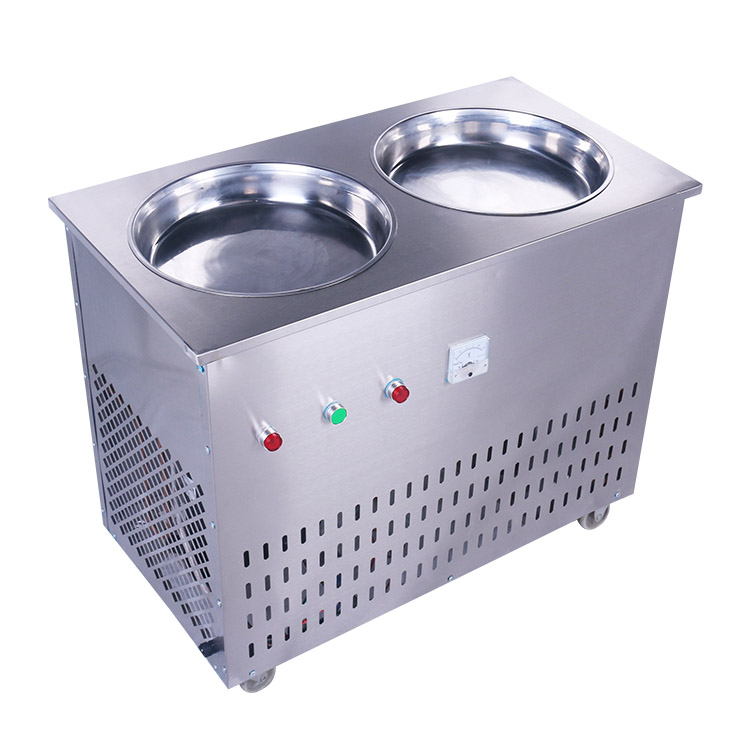 Shentop SL-028 Commercial Manual Double Pan Fried Ice Cream Yoghourt Ice Machine<br>