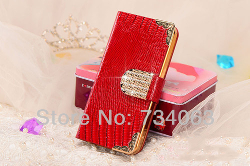 Top Quality Leather Case Luxury Diamond Magnetic Flip Wallet Card Cover for Apple iPhone 5 5s Gift for Women Free Shipping O5OF(China (Mainland))