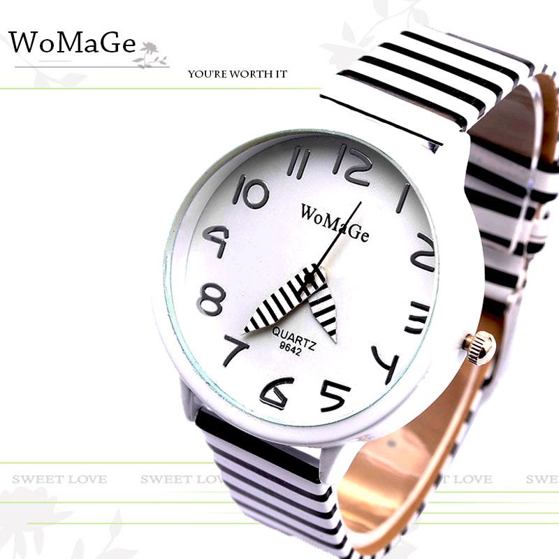 2017 New Top Brand Womage Simple Designer Zebra Crossing Stripe Cow Leather Wrist Watches Girl Children Popular Quartz Clock(China (Mainland))