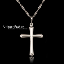 Classic Smooth Cross Pendant Necklace None Stone White Gold Plated  with Free Matching Chain 45 cm(China (Mainland))