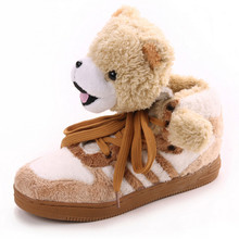 Winter Warm Shoes 2016 Fashion Design Famous Men Women Casual Shoes Round Lace-up Plush Teddy Bear Panda Comfort Couple Shoes(China (Mainland))