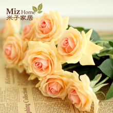 Miz casa 5 peças de alta qualidade real toque de rosa artificial para a festa de casa rosa slik rose bud(China (Mainland))