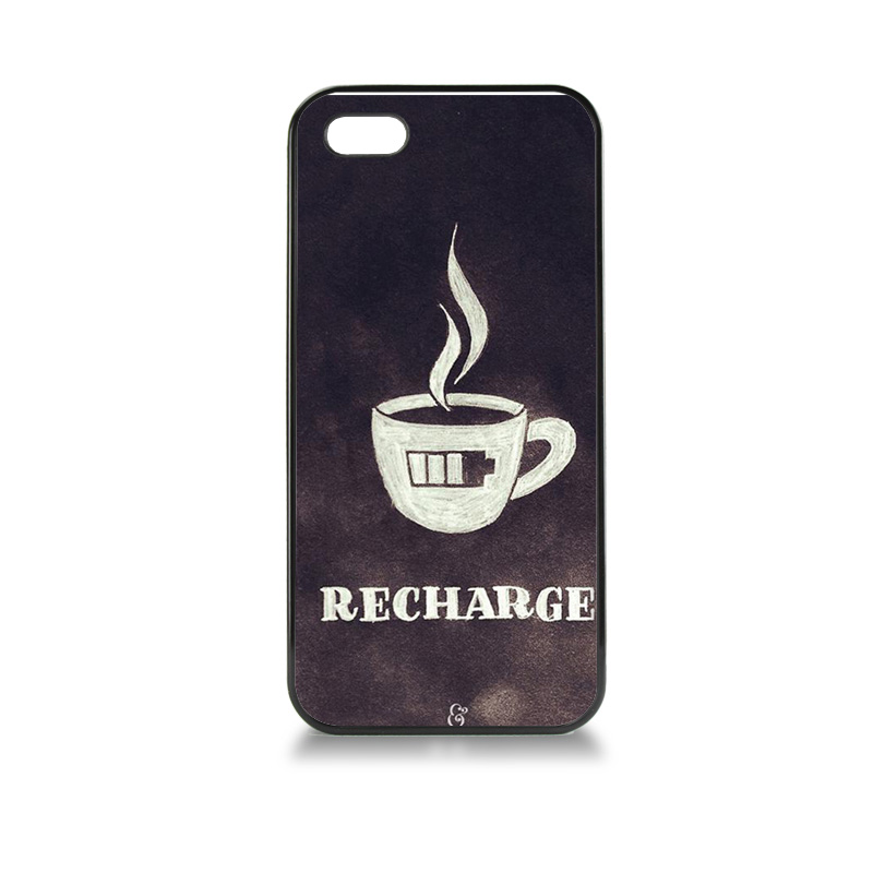 Adorable Colored Drawing tpu soft black phone Accessories For case iPhone 5 5s Charge coffee low battery