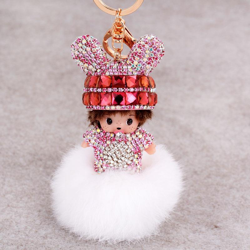 Cute Monchichi Keychain Sleutelhanger Key Chains Luxury Crystal Doll Pendant Fur Pom Pom Keychain Car Bag Key Holder As gift(China (Mainland))