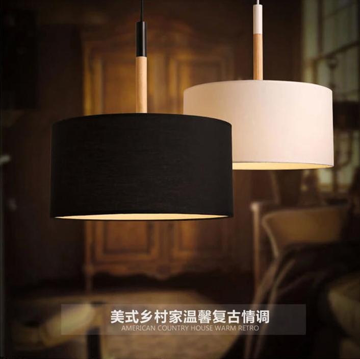 Northern European modern Pendant light simple restaurant dining room Solid wood circular fabric lamp shade personality creative(China (Mainland))