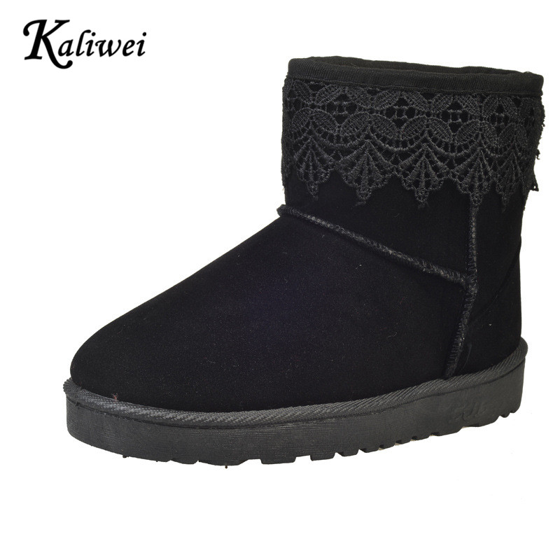KALIWEI New Winter Snow Boots Female Manufacturers Low Warm Boots Flat Low Snow Boots Cotton Shoes Woman(China (Mainland))