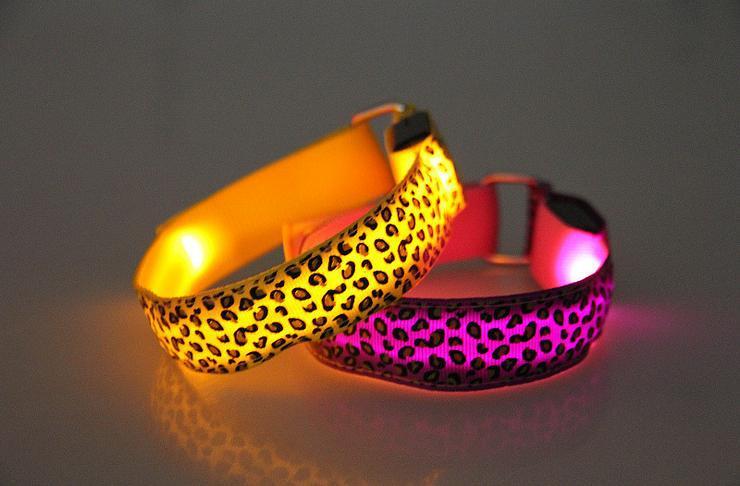 10pcs/lot led nylon leopard print light armband concert party attract props led wrist band glowing leopard pr