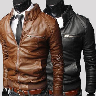 Man Leather Jacket Windproof 3 Colors Motorcycle Slim Fit Retro Spring Men's PU Leather Jackets Casual Coat 2015 Top Quality #Z(China (Mainland))