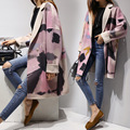 Korean 2016 Woolen Coat Women Turn Down Collar Abstract Print Loose Wool Coat Casual long Outerwear