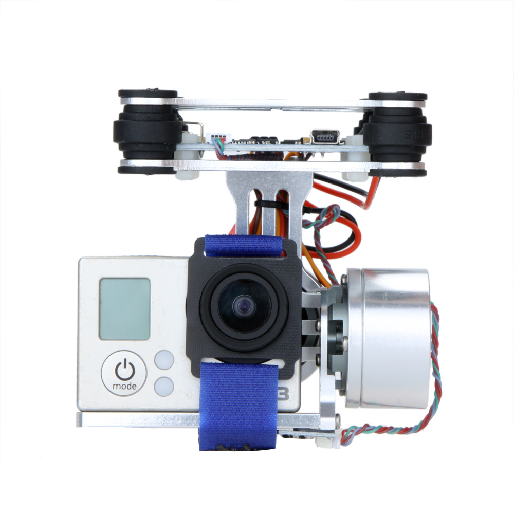 Silver CNC FPV Quadcopter BGC 2 Axis Brushless Gimbal w/ Controller for GoPro 3 Camera DJI Phantom 1 2 Walkera X350 Pro(China (Mainland))