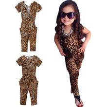 Baby Girl Clothes Kids Short Sleeve Leopard Jumpsuit Romper Trousers Outfit 2-7YZQ1