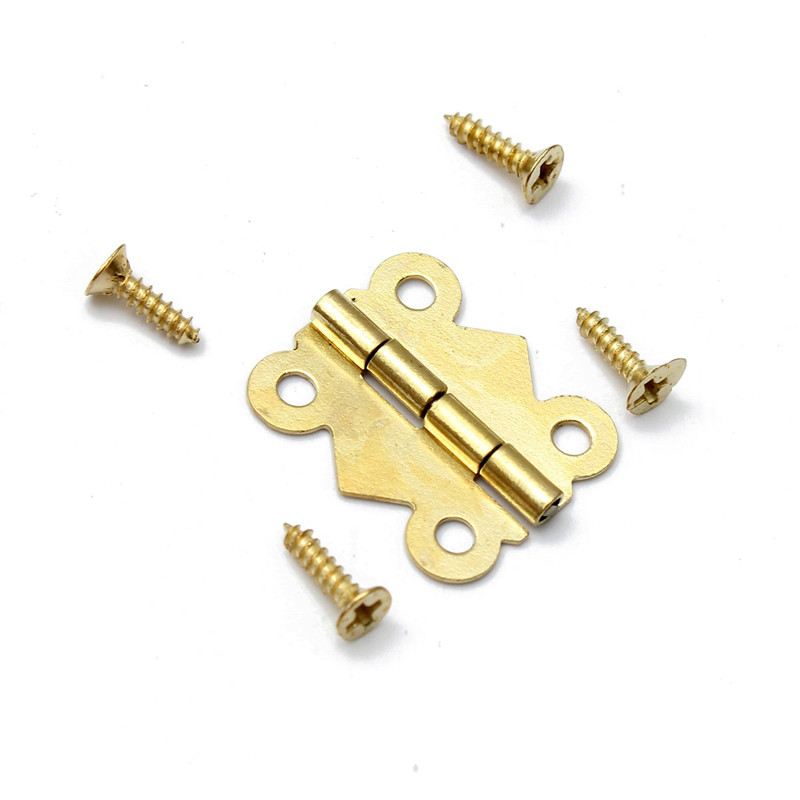 wholesale Fashion Design 5/10/20X Vintage Brass Color Iron Mini Butterfly Butt Hinges Cabinet Drawer Jewelry Box DIY Repair(China (Mainland))