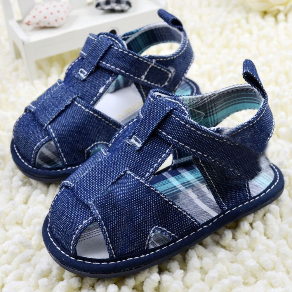 Newborn Baby Infant Boys Summer Shoes Hard Sole Blue Faux Jeans Toddle Shoes(China (Mainland))
