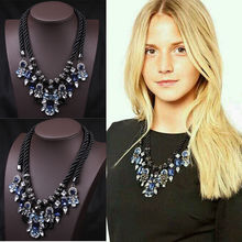 New Fashion Double Ribbon Chain Crystal Rhinestone Statement Bib Necklace Jewely