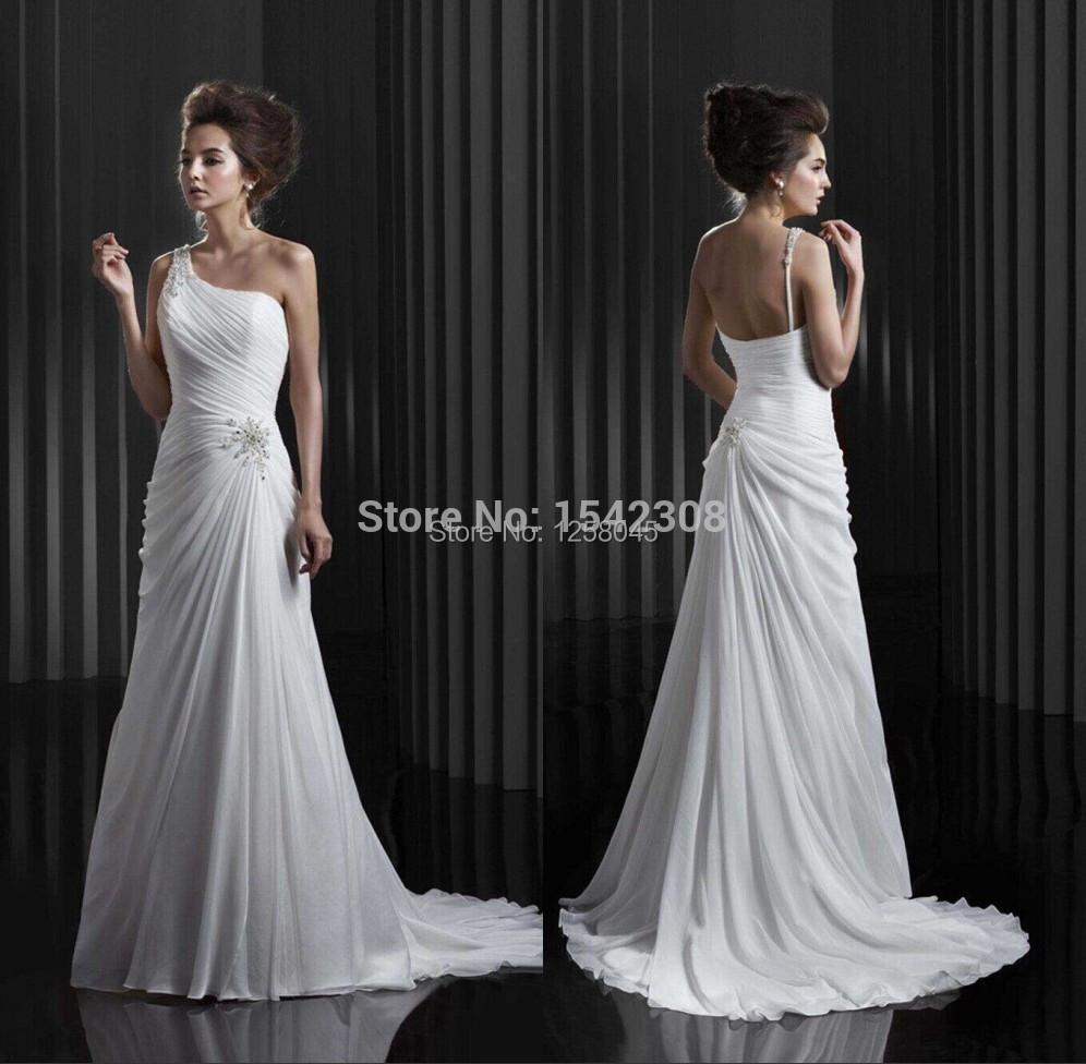 Free shippingsummer dress one shoulder beach wedding for One shoulder beach wedding dress
