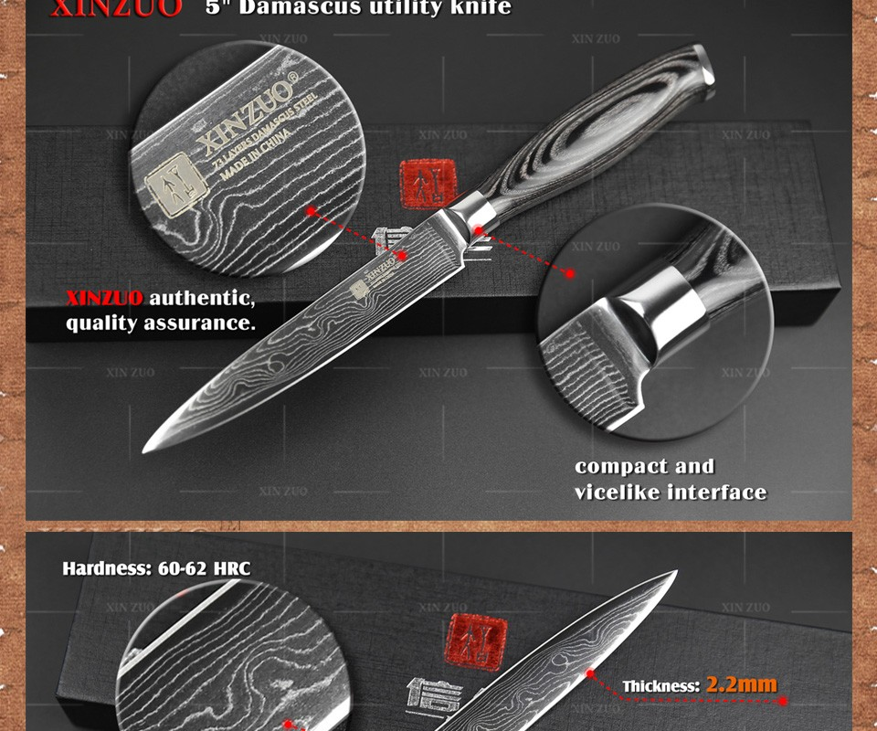 Buy 2016 XINZUO 5 inch utility knife 73 layers Damascus Steel kitchen knife very sharp cutter knife with K133 handle free shipping cheap