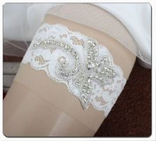 Original Design White Lace Bridal Garter Made of Rhinestoens Beaded Applique and Stretched Lace Trim Handmade