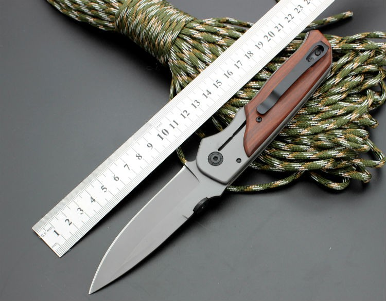Buy 5CR13MOV Blade Survival Knife BROWNING Folding Knife Wood Handle Pocket Hunting Tactical Knives Camping Outdoor EDC Tools bL11 cheap