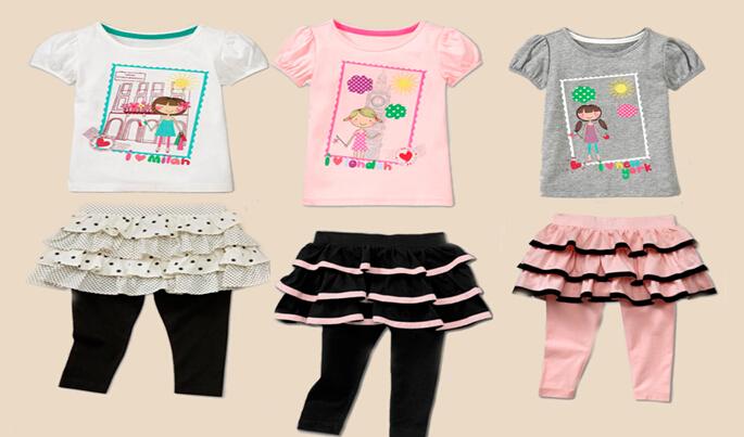 Casual Girls Clothes 2pcs Cloth Set Shortsleeve T-shirt+Solid Skirt Legging Kids Set<br><br>Aliexpress