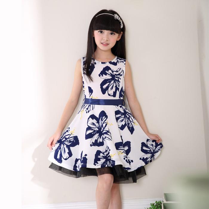 girls dresses summer 2015 teenage girls fashion Sweet girl party dress tutu girls summer dress Printed Sleeveless dress L0731-1(China (Mainland))