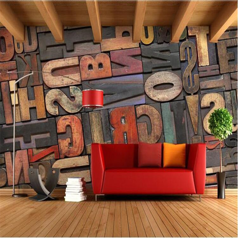 Photo wallpaper high quality 3d stereoscopic wood alphabet for Alphabet wall mural