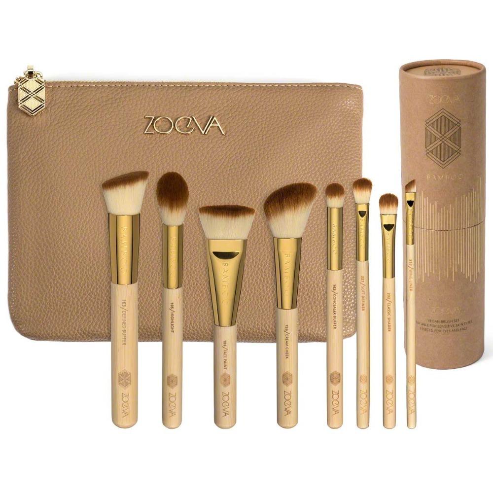 New Item Zoeva 8pcs brushes with cosmetic bag holder Bamboo Makeup Kit