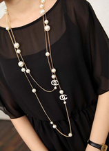 Unique Design OC= CC Top Fashion Necklaces for Women, Long necklace Women, Multi Layer Necklace Gold Plated Pearl Neckless Girls(China (Mainland))