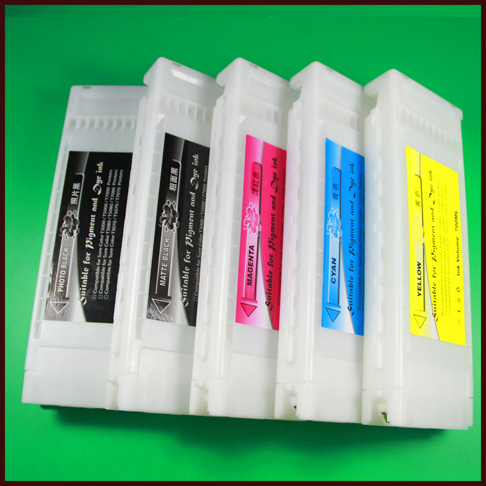 T6941-T6945 Compatible Ink Cartridge For Epson Surecolor T3270D T5270D T7270D With Dye Ink In 700ML in 5 Colors<br><br>Aliexpress