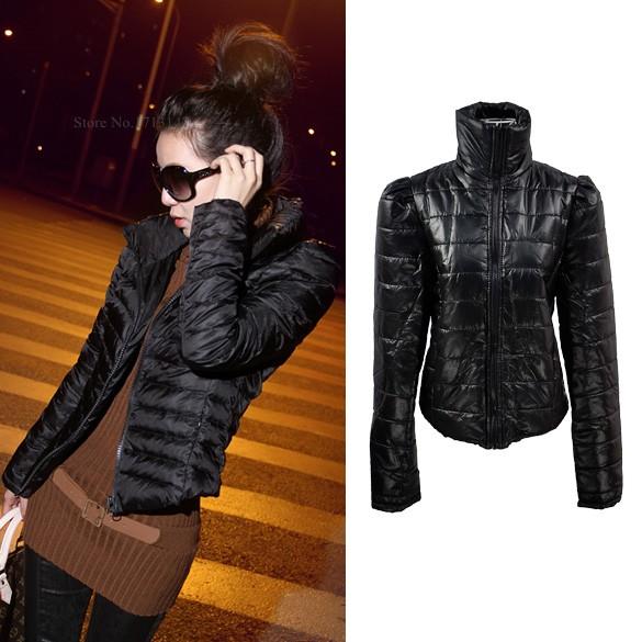 New 2014 Korean Women's Shrug Zip Winter Warm Slim Fit Black Short Jacket Down Coat Outwear Free shipping 31(China (Mainland))