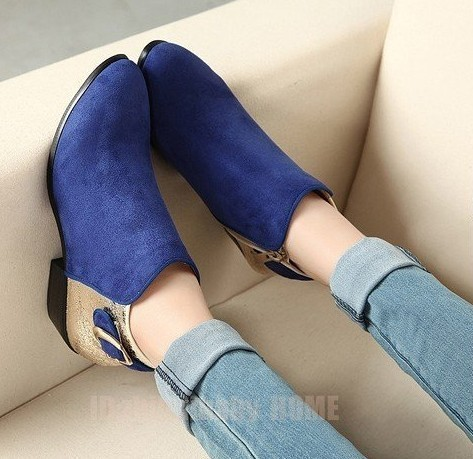 Fashion vintage navy blue all-match pointed toe buckle color block decoration leather velvet ankle work martin boots  women
