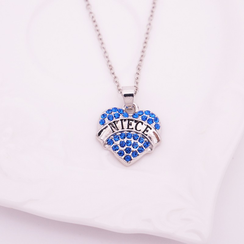 Niece Cheap Necklace For Girls Rhinestone Heart Pendant Necklace Family Member Promotion Christmas Gifts Wholesale