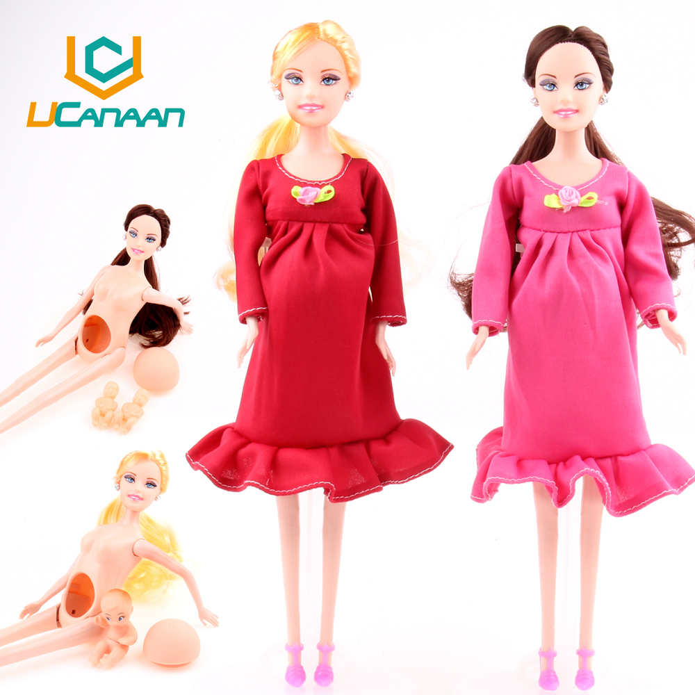 UCanaan New Educational Real Pregnant Doll Suits Mom Doll Have A Baby in Her Tummy Best Friend Play with Girls Toys Best Gift(China (Mainland))